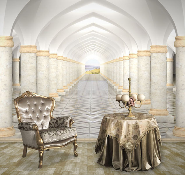 Коридор-с-колоннами-и-арочным-гостиная-Киев-Украина