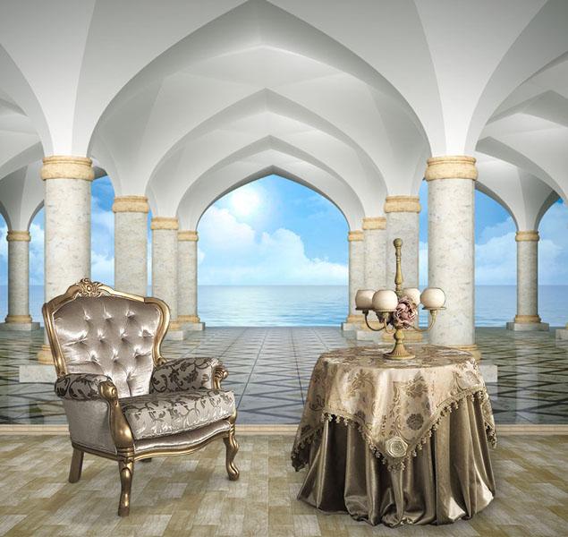 Арочная-галерея-с-видом-на-море.-гостиная-Киев-Украина
