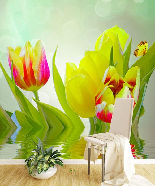 Желто-красные-тюльпаны,-отраженные-спальня-Киев-Украина