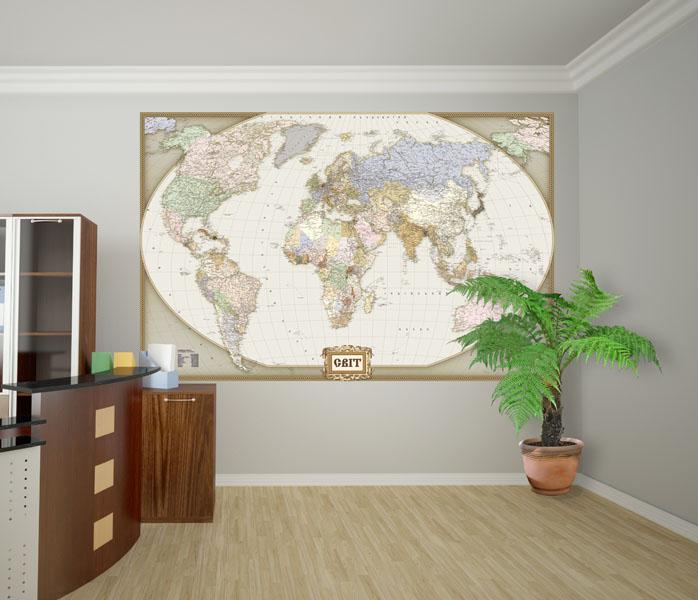 Стилизованная-Карта-Мира-на-офис-Киев-Украина