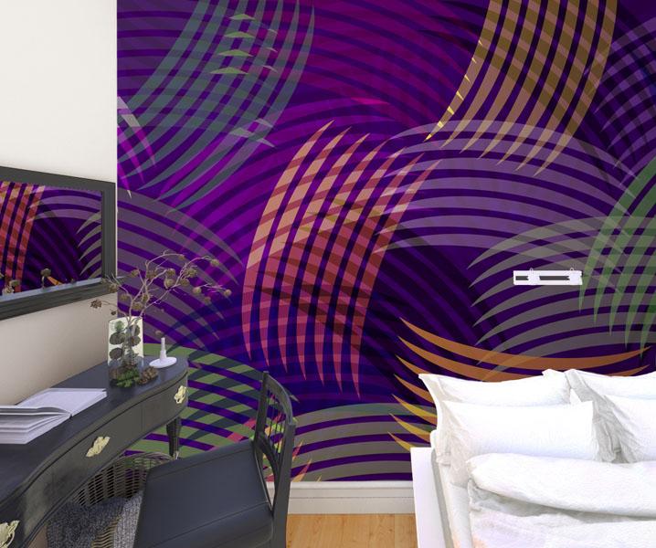 Фотообои-с-фиолетовым-геометрическим-спальня-Киев-Украина