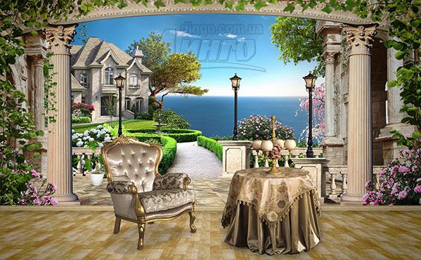 домик, терраса, фонарь, балюстрада, колонны, расширение пространства