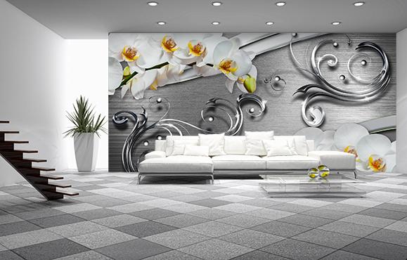 fotooboi 3d, 3d, арт, абстракция, кованые украшения, орхидеи, гостиная