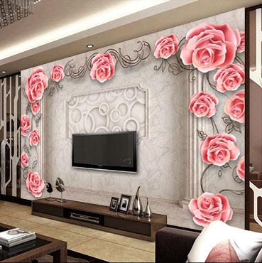 fotooboi 3d, 3d, арт, розы, кованые украшения, колонны, гостиная