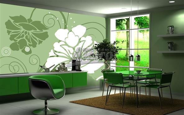 рисунок с жидких обой зелёные