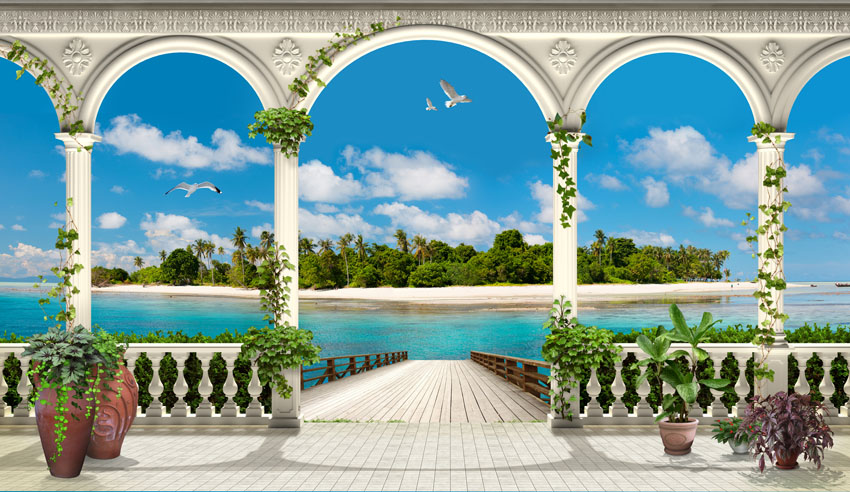 Фотошпалери тераса море балкон розширення-простору