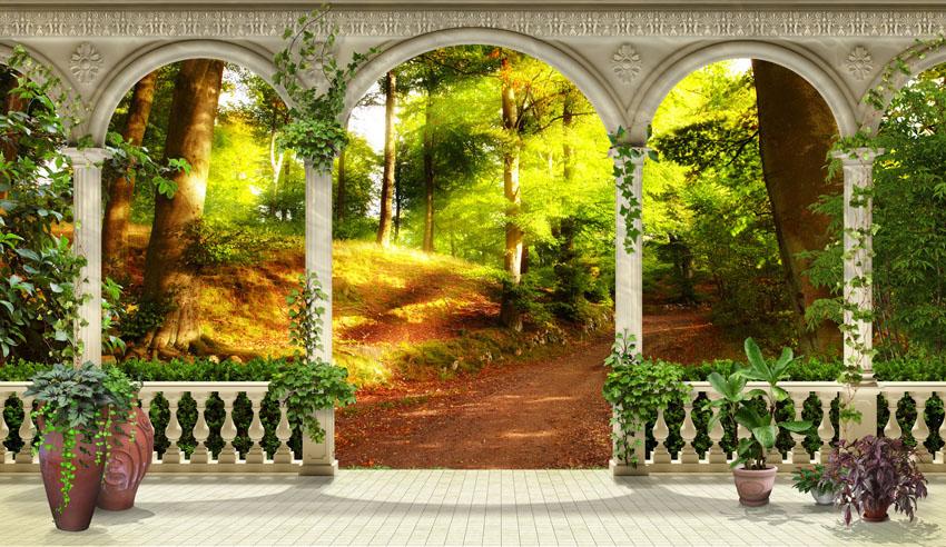 Фотообои терраса лес балюстрада расширение-пространства