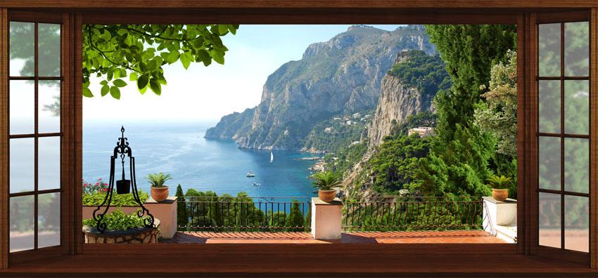 Фотошпалери веранда вікно море расширение-пространства