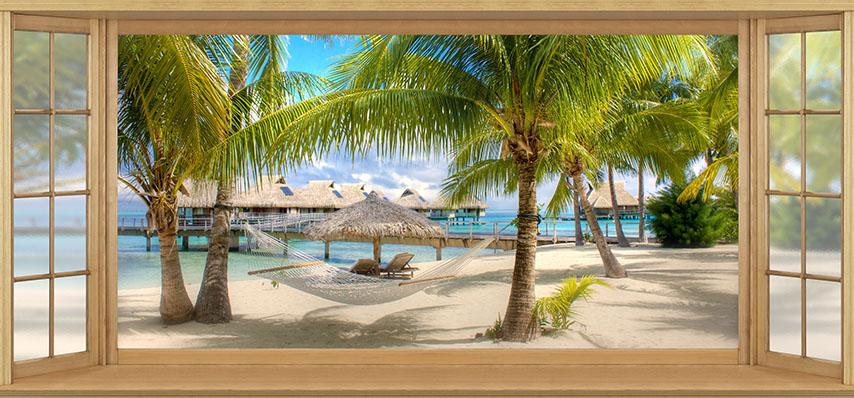 Фотошпалери расширение-пространства вікно пальми пляж