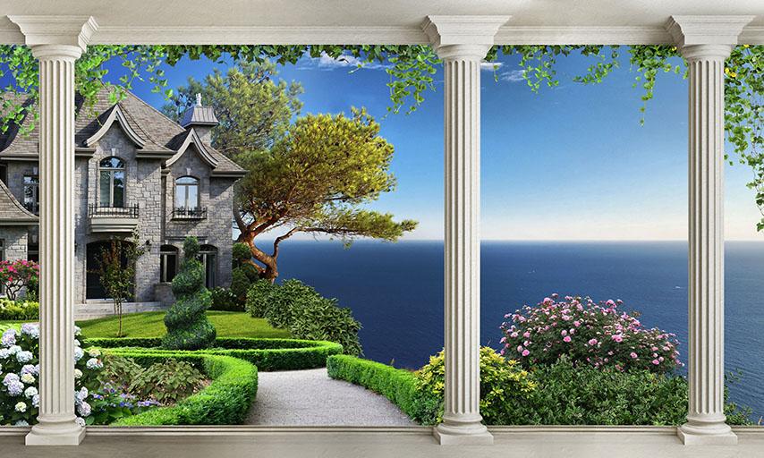 Фотообои колонны дом цветы расширение-пространства