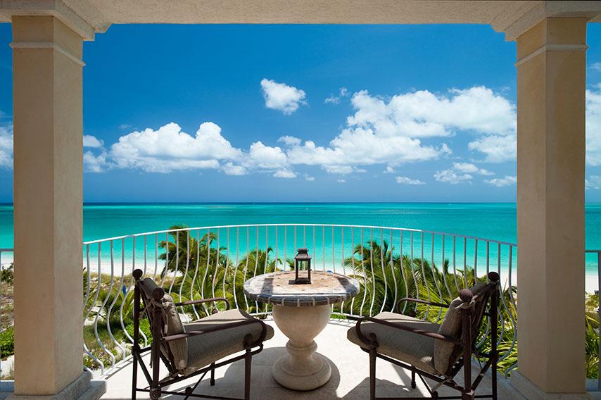 Фотошпалери море колони расширение-пространства балкон