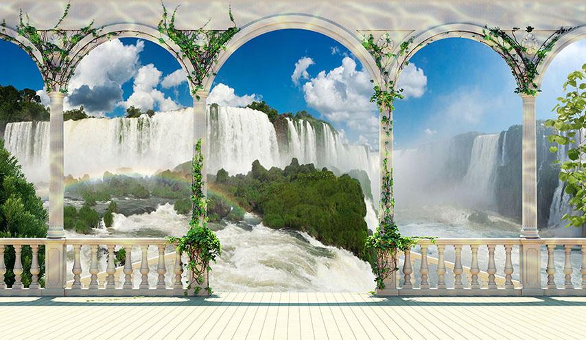 Фотообои колонны водопад расширение-пространства вода
