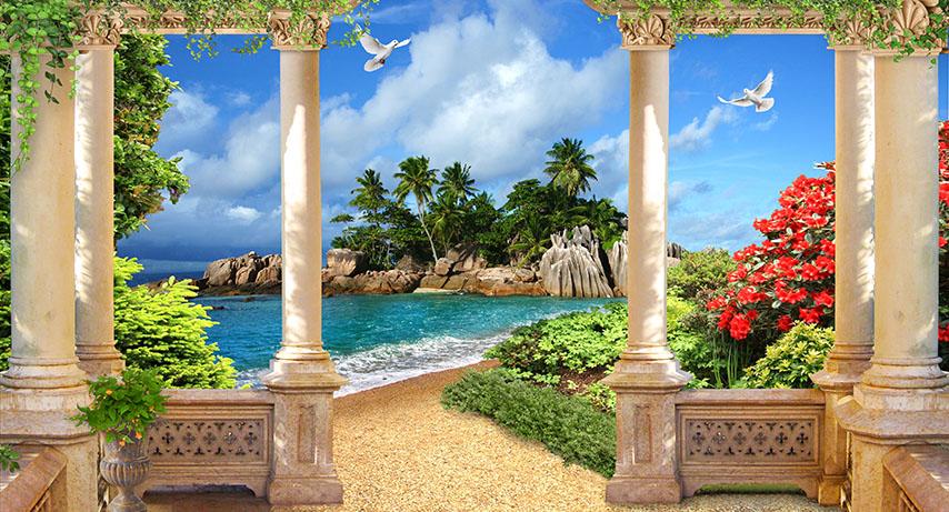 Фотообои веранда море остров расширение-пространства