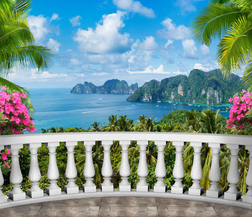 Фотошпалери балюстрада балкон море розширення-простору