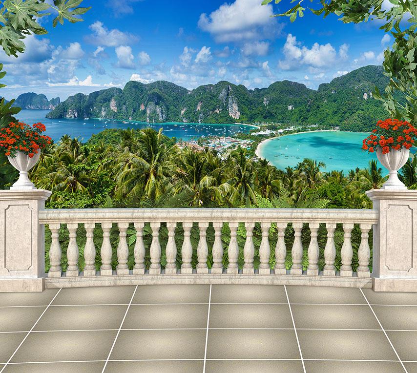 Фотообои расширение-пространства, балкон, море, остров