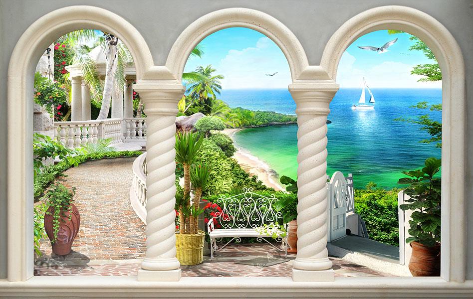 Фотообои расширение пространства терраса море залив