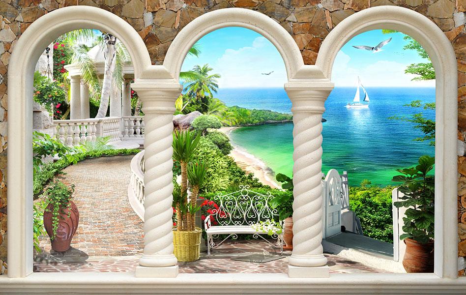 Фотообои расширение пространства, терраса, море, залив