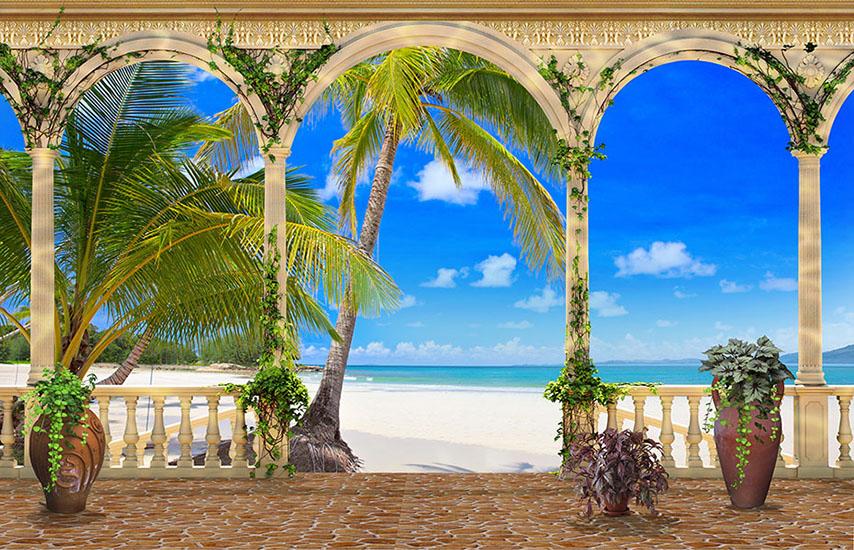 Фотообои колонны терраса море пальма