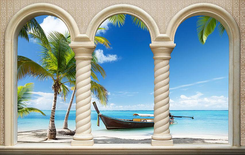 Фотошпалери колони човен море пальма