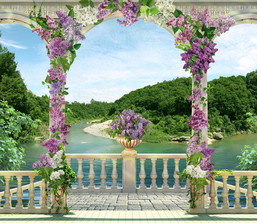 Фотообои колонны сирень река балюстрада