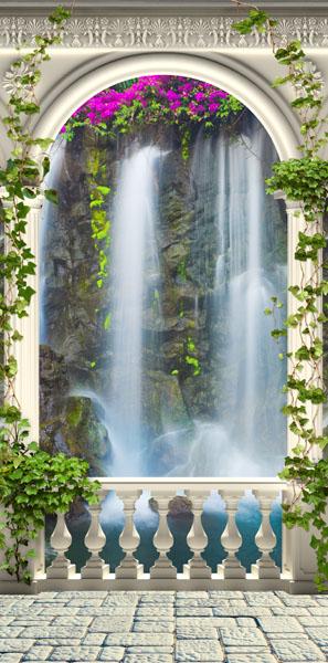 Фотообои колонны водопад цветы арка