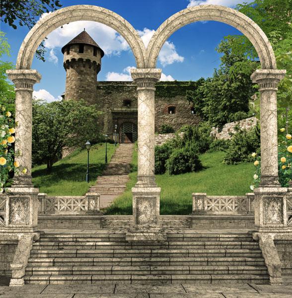 Фотообои колонны арка замок лестница