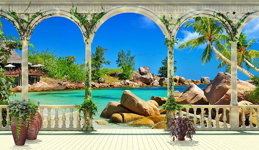 Фотошпалери море арка камені затока