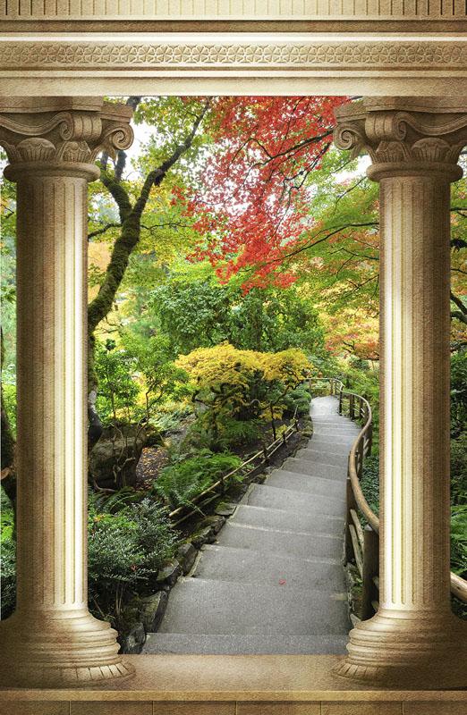 Фотообои колонны арка лестница сад