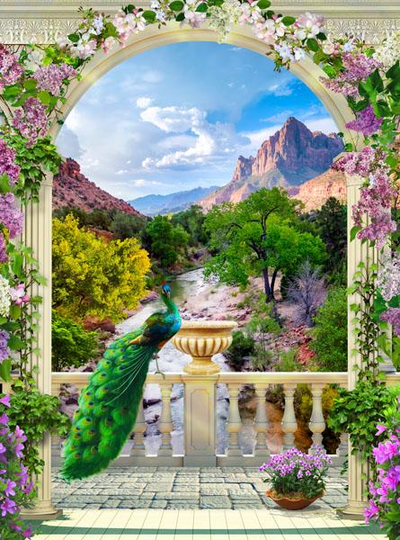 Фотообои 3d арка павлин горы
