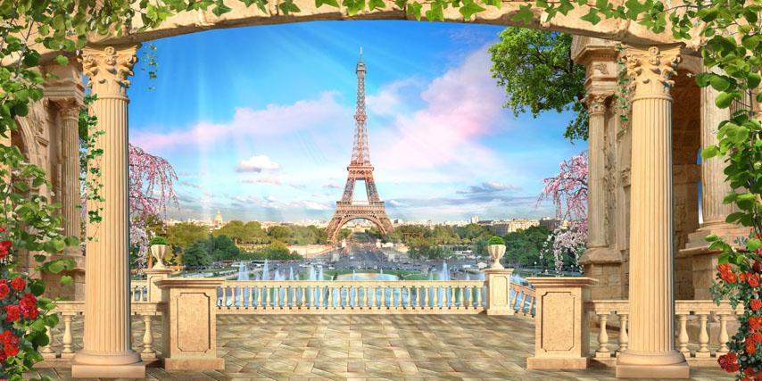 Фотошпалери 3d балюстрада Ейфелева вежа колони