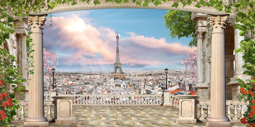 Фотообои 3d балюстрада эйфелева башня колонны
