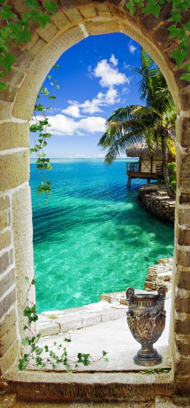 Фотошпалери 3d вікно вузьке море