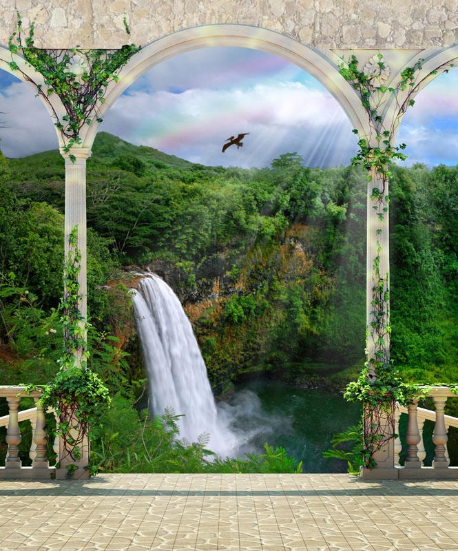 Фотообои 3d водопад колонны балкон