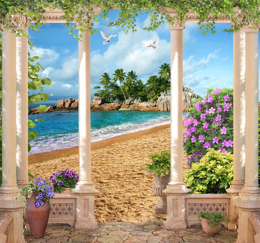 Фотошпалери 3d море колони острів