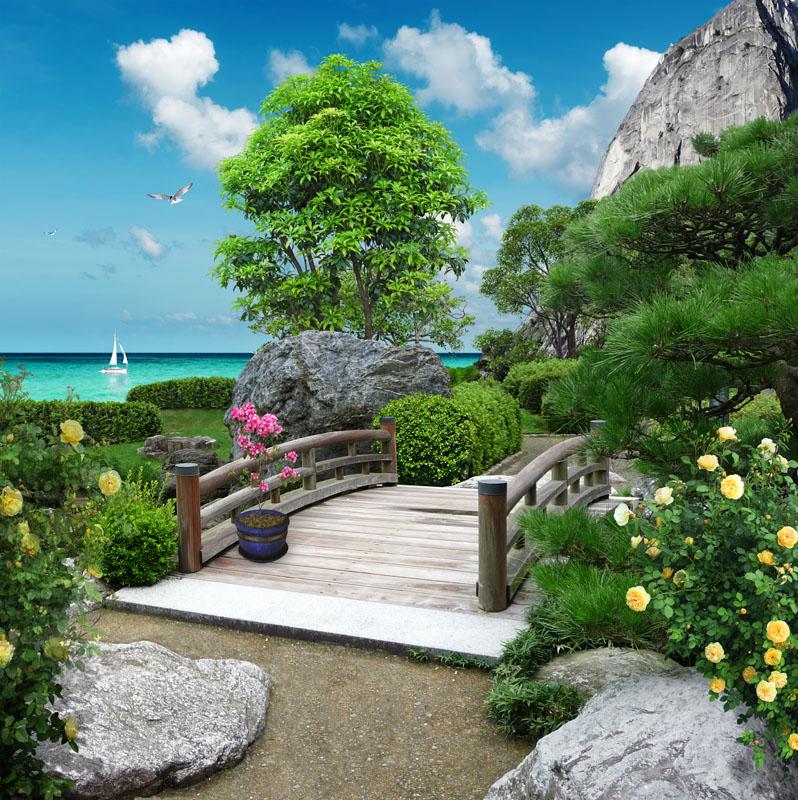 Фотообои 3d море мост сад