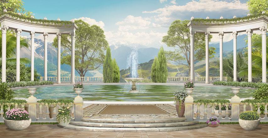 Фотошпалери 3d тераса балюстрада фонтан