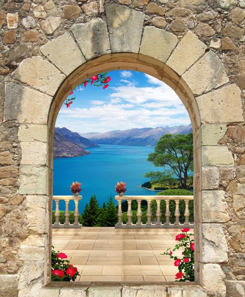 Фотообои 3d арка балюстрада море