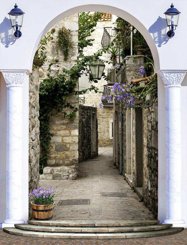Фотообои 3d арка дворик узкий