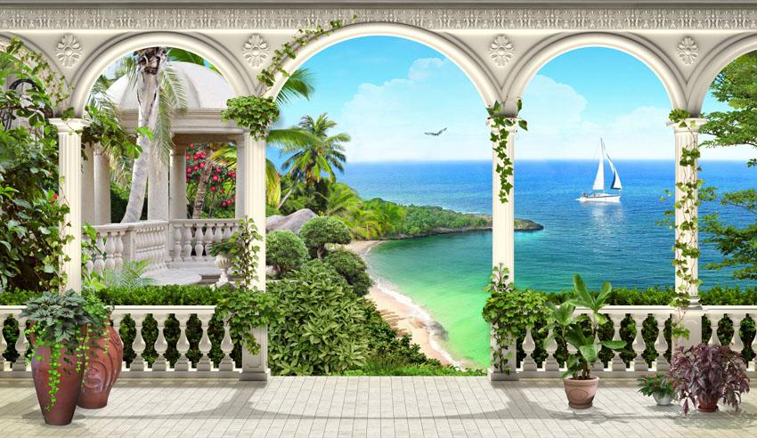 Фотошпалери 3d арка тераса море