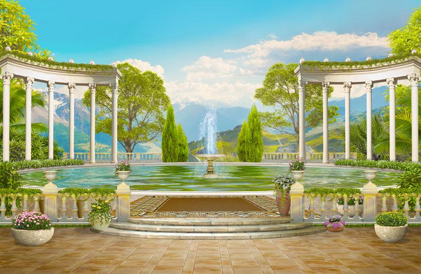 Фотошпалери 3d колонада фонтан гори