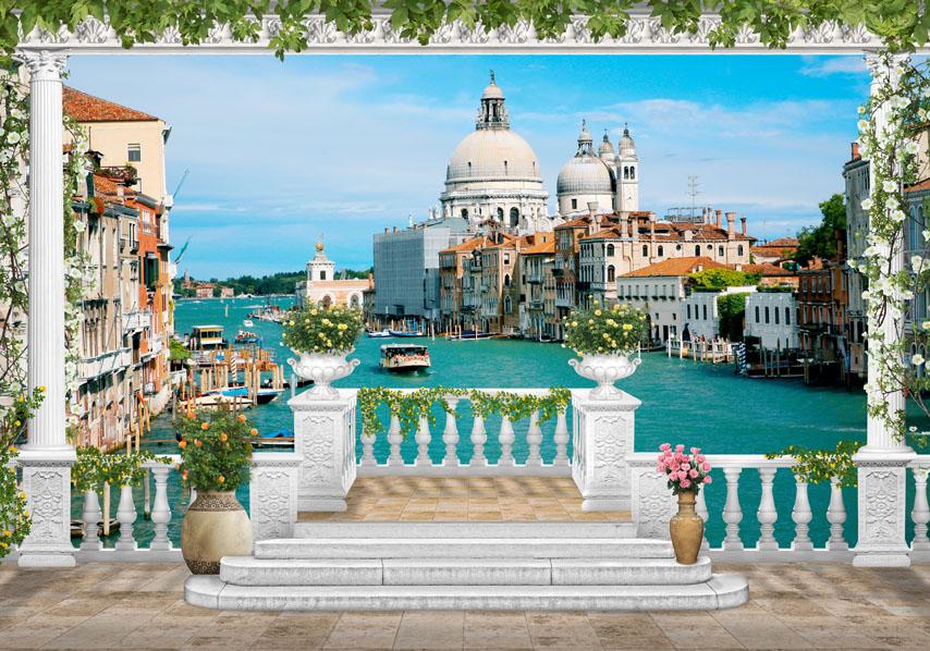 Фотообои 3d канал терраса венеция