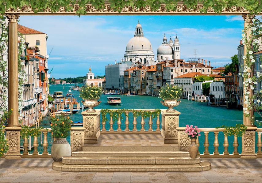 Фотошпалери 3d канал тераса венеція