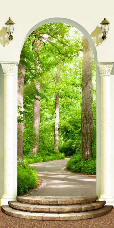 Фотошпалери 3d ліс стежка колони