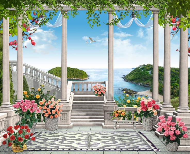 Фотообои балюстрада розы море лестница