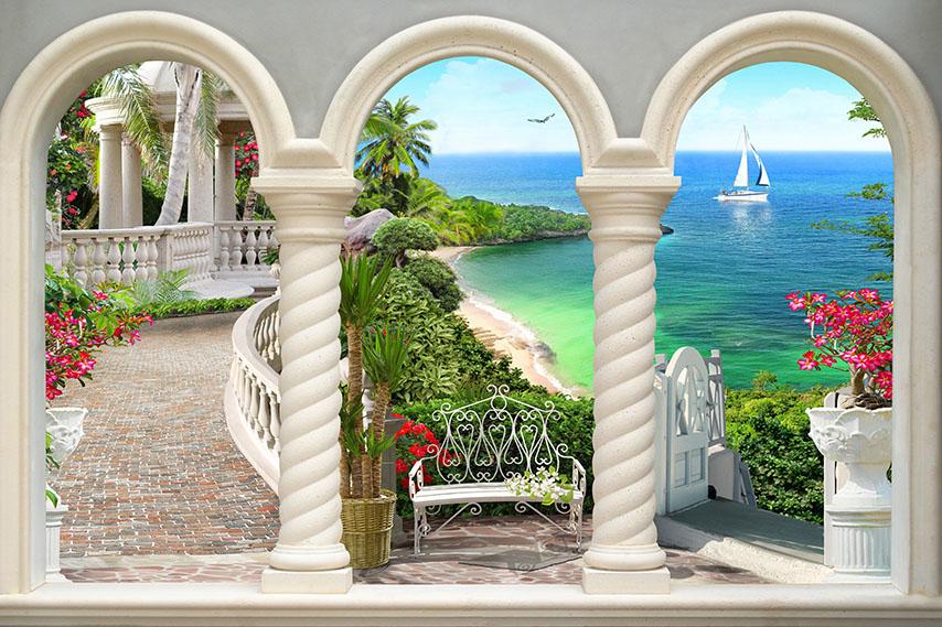 Фотошпалери арка садок море лавка