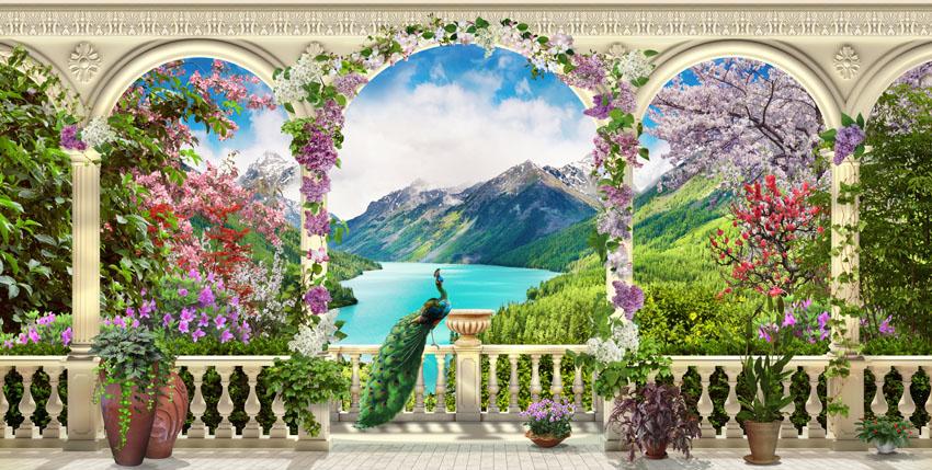 Фотообои балюстрада павлин колонны горы