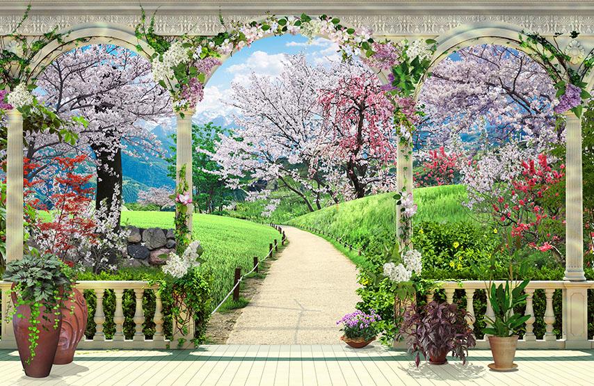 Фотообои балюстрада сакура колонны дорога