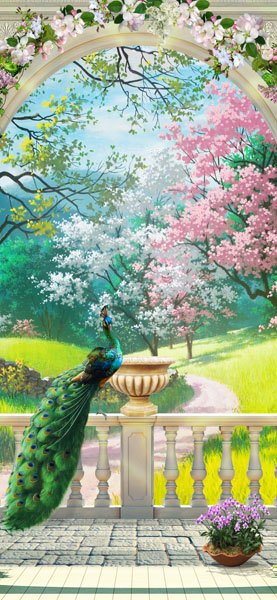 Фотообои 3d узкий павлин сад