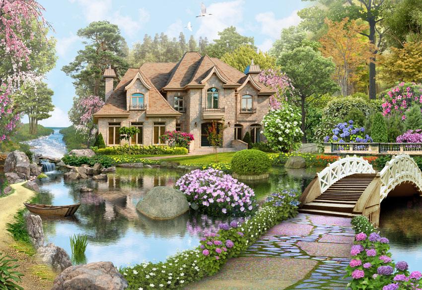 Фотошпалери 3d, озеро, будинок, сад