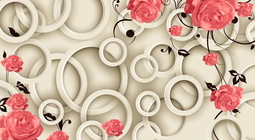 Фотошпалери визерунок абстракція коло квіти